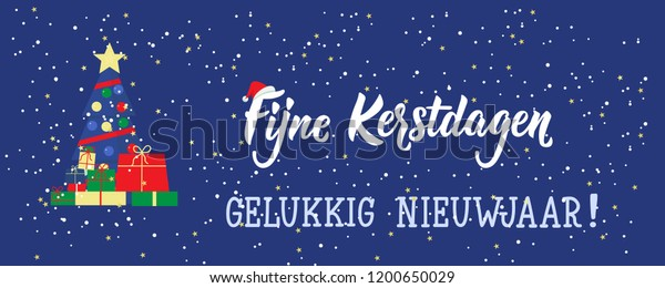 Merry Christmas In Dutch.Christmas Banner Dutch Text Merry Christmas Stock Vector