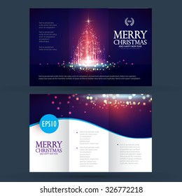 Christmas banner & flyer template with shining Christmas tree. Vector illustration
