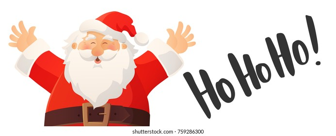 Christmas banner with funny cartoon Santa Claus. Ho-ho-ho hand drawn text. Red Santa hat and beard. Great for Christmas and New Year advertisings, flyers, headers, gift tags and labels