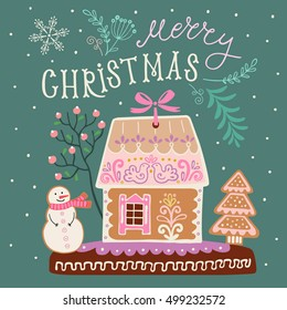 Christmas banner with gingerbread house, snowman and tree. Vector illustration