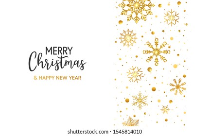 Christmas banner with gold snowflakes, snow and hand lettering on white background. Golden glitter snowflake with sparkle and stars. Winter Holiday design for poster, header,card. Vector illustration.