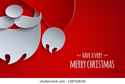 Christmas banner, holiday design for greeting card. Red background, 3d paper cutout hat, mustache and beard of Santa Claus. Text is have a very merry christmas. Paper cut out art style, vector illustration