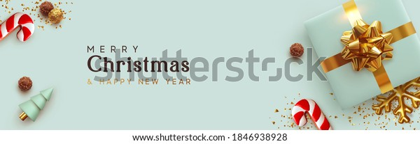 Christmas banner horizontal. Background Xmas design of realistic blue gifts box, cane candy cookie, conical 3d tree, golden glitter confetti. New year poster, greeting card, headers for website
