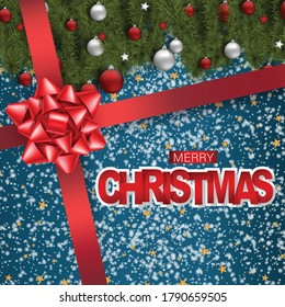 Christmas banner, Merry Xmas holiday background design. Fir tree branches with red and white balls and stars. Big bow over the flyer. 3d realistic vector illustation.