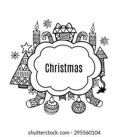 Christmas banner sketch set vector design illustration. Christmas background.