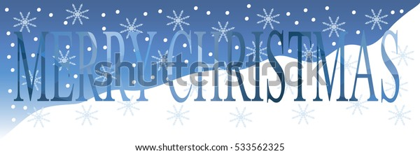 Christmas banner with snow and text.