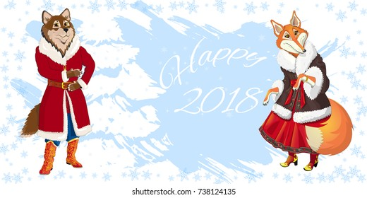 Christmas banner with the symbol of the year, according to the Chinese calendar. A dog in Santa Claus costume. Fairy-tale characters of a wolf and foxes in a Russian folk costume. Vector illustration