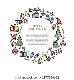 Christmas banner template with christmas decorative elements. Round composition with space for your text. Hand drawn vector illustration.