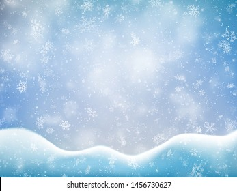 Christmas banner template with falling snow, clouds and snowdrift. Holiday decoration backdrop. EPS 10
