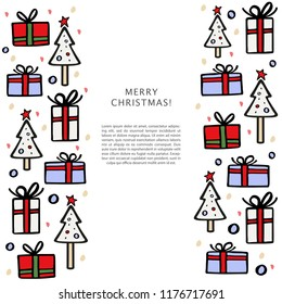 Christmas banner template with space for text with Christmas tree and gifts around. Hand drawn vector illustration.
