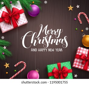 Christmas banner vector background template with merry christmas greeting typography and colorful elements like gifts and decorations in wood texture background. Vector illustration.