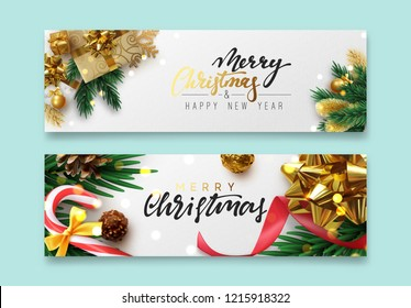Christmas banner, Xmas festive decoration. Horizontal christmas posters, cards, headers website. Sparkling lights garland with gifts box and golden tinsel. Objects viewed from above. Flat lay, Top vie