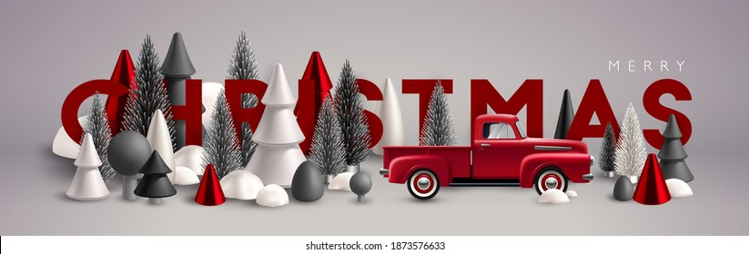 Christmas banner. Xmas Horizontal composition made of red, white and grey wooden and glass Christmas trees and toy vintage car. Christmas poster, greeting cards, header or profile cover.