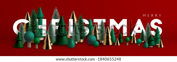 Christmas banner. Xmas Horizontal composition made of green and gold wooden and glass Christmas trees. Christmas poster, greeting cards, header or profile cover.