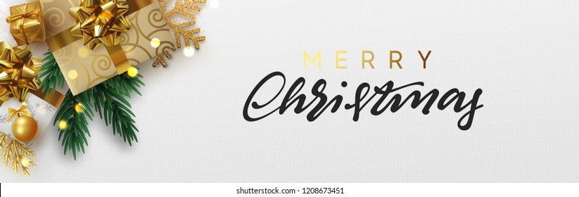 Christmas banner, Xmas sparkling lights garland with gift box and golden tinsel. Horizontal christmas posters, cards, headers, website.