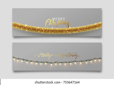 Christmas banner, Xmas sparkling lights garland, posters, cards, headers website.