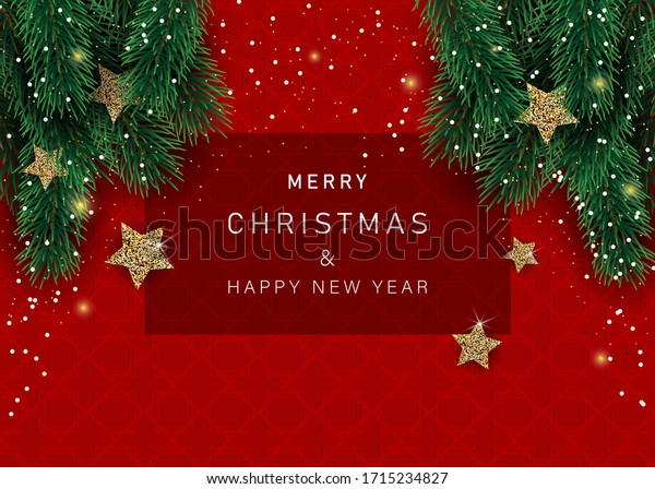 Christmas banners with decorated stars with branches. With snow frames on a red background. Festive header design for your website