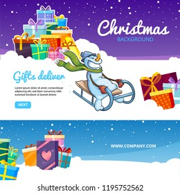 Christmas banners. Holiday gifts colored packages with ribbons on snow snowman deliver snowflakes in snowy weather vector cartoon new year concept background
