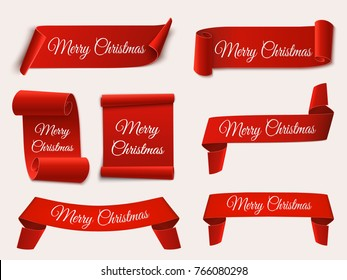 Christmas banners isolated. Set of red scrolls. Vector template