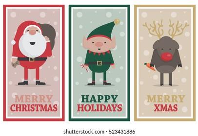 Christmas banners with Santa, Elf and Reindeer