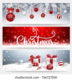 Christmas banners set with fir branches, red balls and gifts. Vector illustration