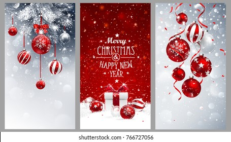 Christmas banners set with fir branches decorated with ribbons, red balls and gifts. Vector illustrations
