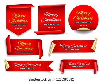 Christmas banners set. Ribbons and round sticker. Paper scrolls. Vector illustration.