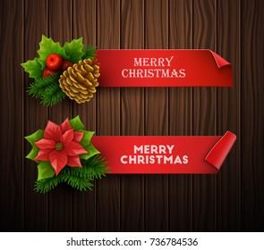 Christmas banners set. Vector illustration.