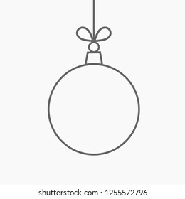 Christmas bauble hanging ornament line shape. Vector illustration