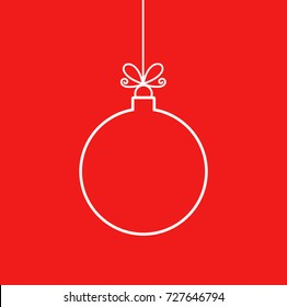 Christmas bauble ornament outline shape. Vector illustration