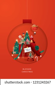 christmas bauble paper cut out greetings template vector/illustration