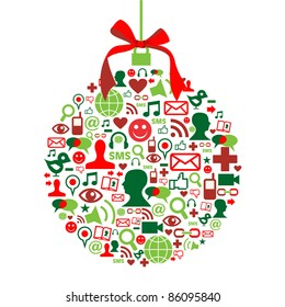 Christmas bauble shape made with social media icons set.
