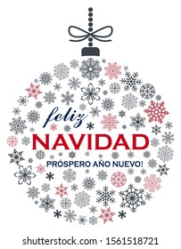 Christmas bauble vector with snowflakes and spanish christmas greetings on white background. Translation spanish to english: Feliz Navidad is Merry Christmas, Prospero Ano Nuevo is Happy New Year.