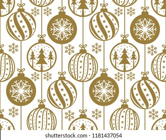 christmas baubles decoration seamless pattern vector illustration