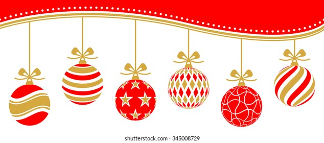 christmas baubles vector red golden