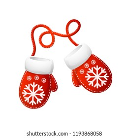 Christmas beautiful cartoon mittens Santa  with snowflake pattern. On a white background, cartoon, vector illustration.