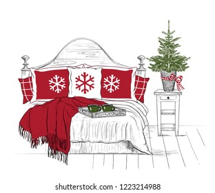 Christmas Bedroom. Bed with pillows, blanket  and a tray with cups of coffee. Bedside table with a Christmas tree in a wicker basket. Vector vintage illustration . Color sketch.