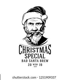 Christmas Beer Label with Santa Claus smoking a Cigar