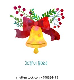 Christmas bell. Cartoon clip art illustration on isolated background. Watercolour imitation. Poster or postcard design.