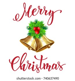 """Christmas bell with  handwritten text """"Merry Christmas"""". Vector illustration for posters, icons, greeting cards, print and web projects."""
