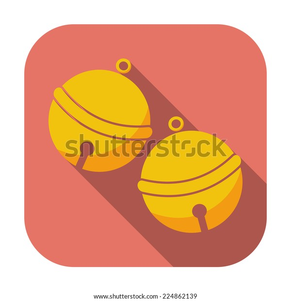 Christmas bell. Single flat icon on the button. Vector illustration.