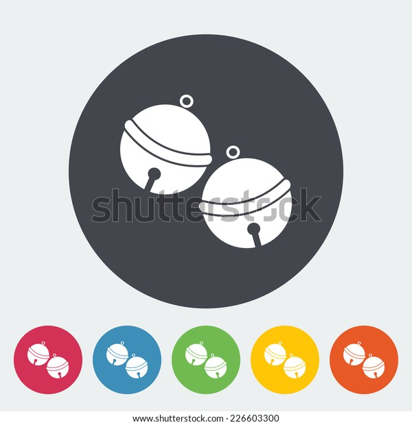 Christmas bell. Single flat icon on the circle. Vector illustration.