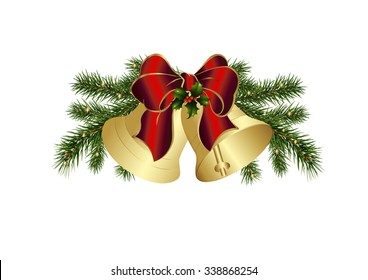 Christmas bells and a bow in red