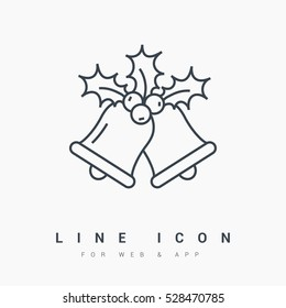 christmas bells isolated minimal icon. christmas bells graph line vector icon for websites and mobile minimalistic flat design.