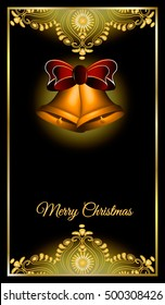 Christmas bells on a black background with gold pattern and inscription