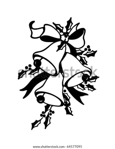 Christmas Bells Images Clip Art.Christmas Bells Retro Clipart Illustration Stock Vector