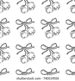Christmas bells. Vector seamless pattern with hand drawn symbols of New Year. Winter holiday texture