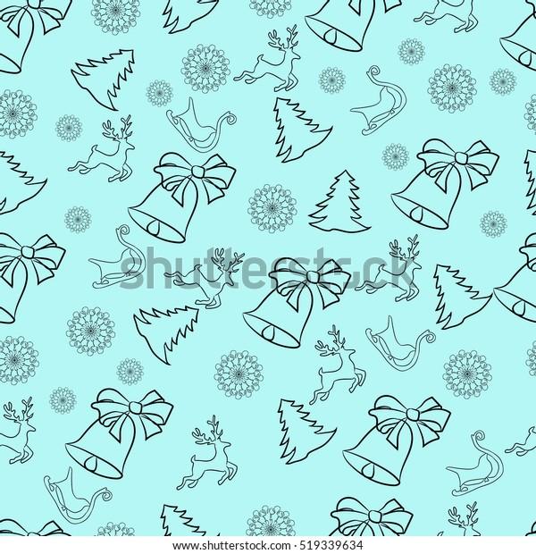 Christmas Bells Wallpaper Vector Seamless One Stock Vector