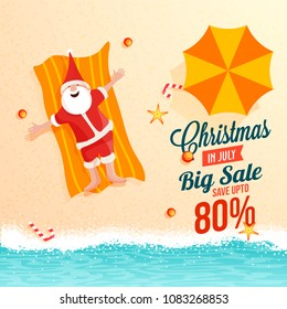 Christmas Big sale in July, poster, or banner template, top view of a beach, Santa Claus resting  on sand, with date and discount upto 80% offers.