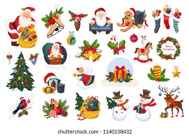 Christmas big set, New Year holiday decoration elements vector Illustrations on a white background